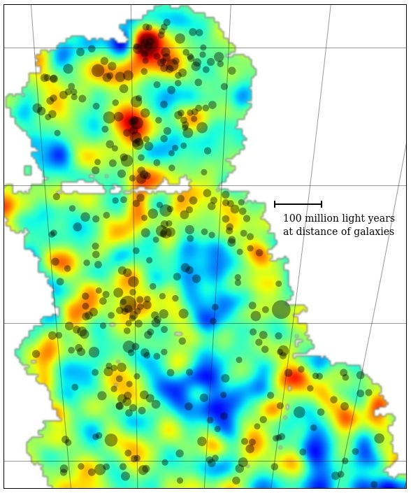 This is the first Dark Energy Survey map to trace the detailed distribution of dark matter across a large area of sky. The colour represents projected mass density. Yellow and red are regions with more dense matter. The dark matter maps conform to the current picture of mass distribution in the universe where large filaments of matter align with galaxies and clusters of galaxies. The clusters of galaxies are shown by the grey dots in the map — bigger dots represent larger clusters. This map covers three percent of the area of sky that DES will eventually document over its five-year mission.