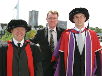 (right to left) Dr Rafal Szepietowski with Professor Bob Nichol and Dr David Bacon