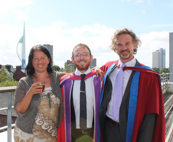 Dr Oliver Steele (centre) with Professor Claudia Maraston and supervisor Dr Daniel Thomas