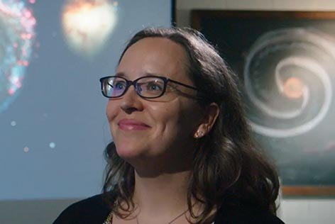 Dr. Karen Masters discussing the whirlpool galaxy on BBC Sky at Night
