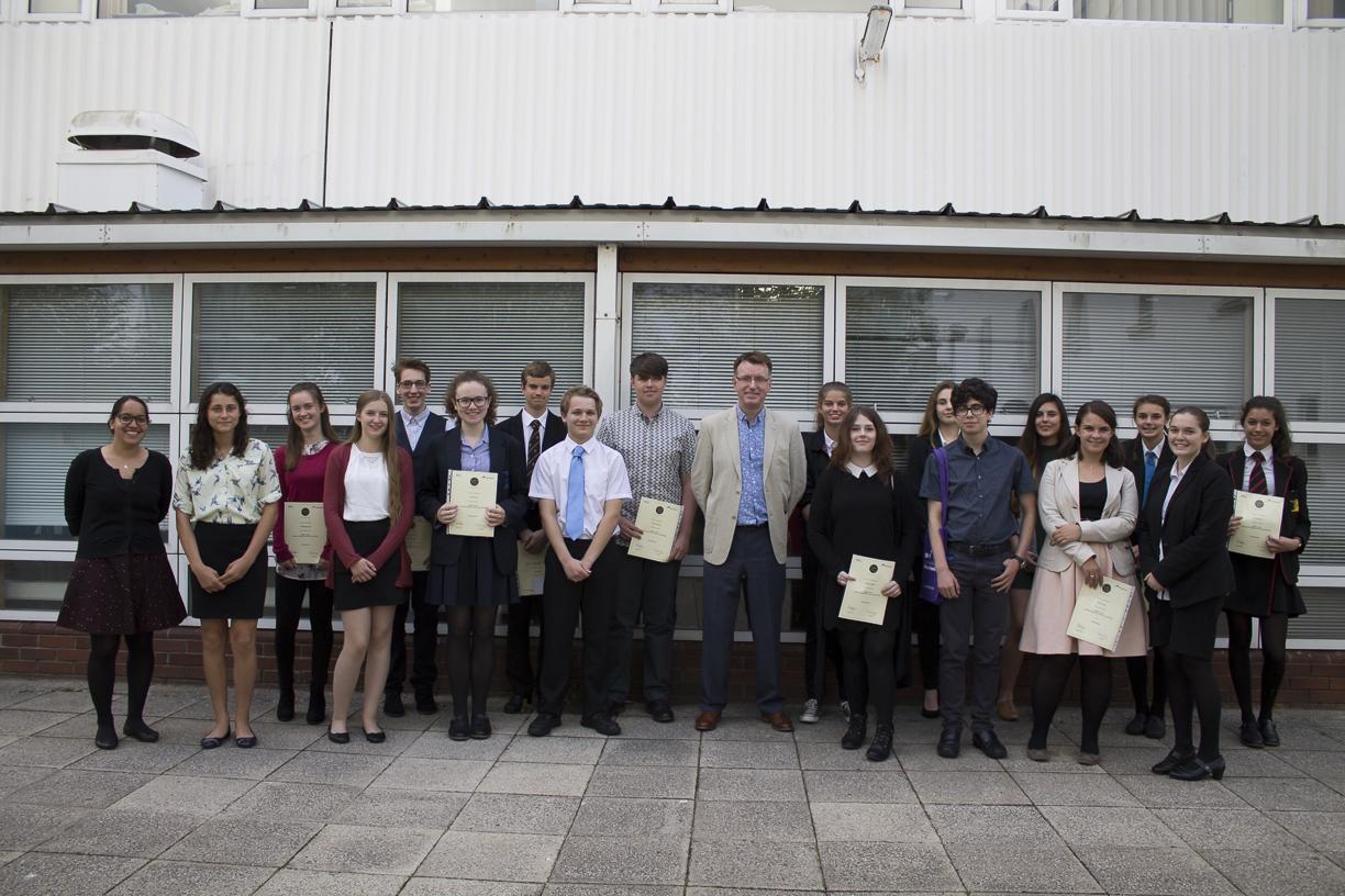 The 2015/16 Portsmouth Ogden Schools Physicist of the Year award winners with Professor Bob Nichol and Dr Jen Gupta.