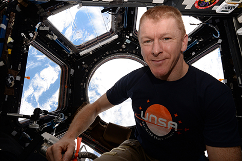 Astronaut and UoP Tim Alumnus on board the International Space Station. Picture: ESA/NASA